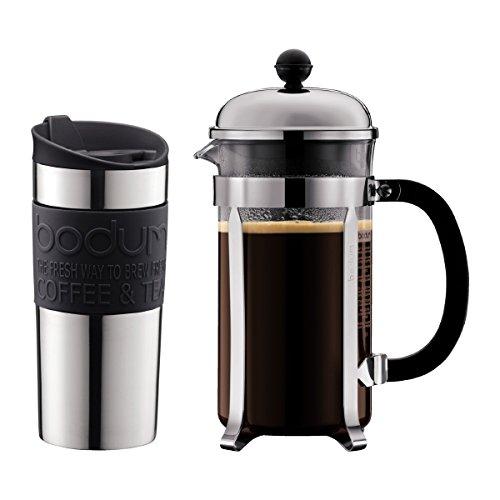 Bodum Set Chambord Kaffeebereiter 8 Tassen, 1,0l und Travel Mug Becher, 0,35 l, Edelstahl mit Silikonring für 29,99€ (Müller Abholung)