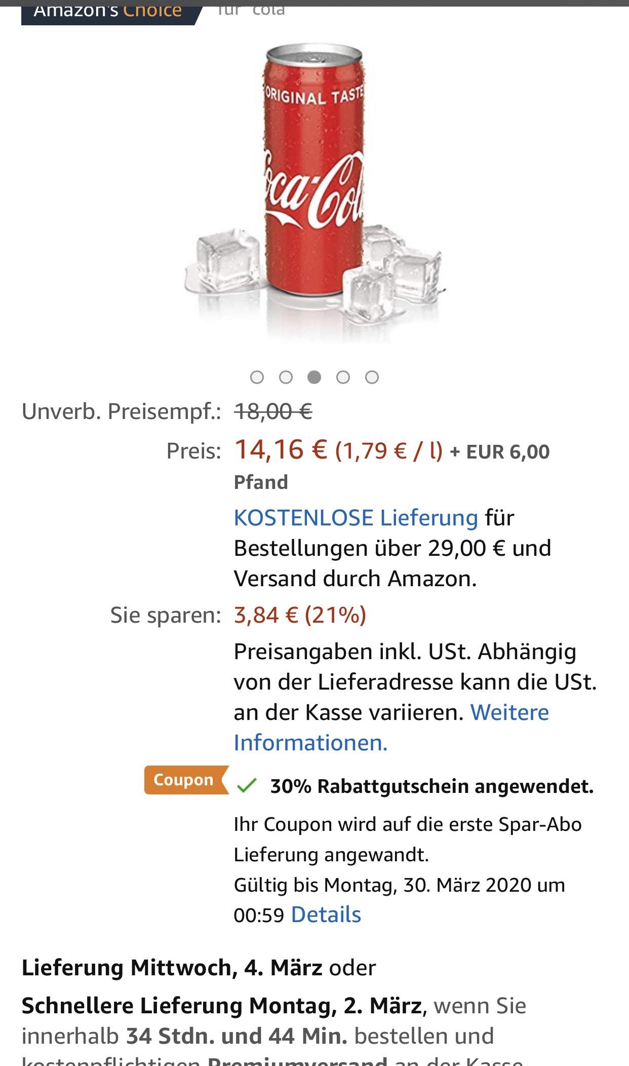 Amazon Coca Cola Classic 24*330ml -30%Rabattgutschein