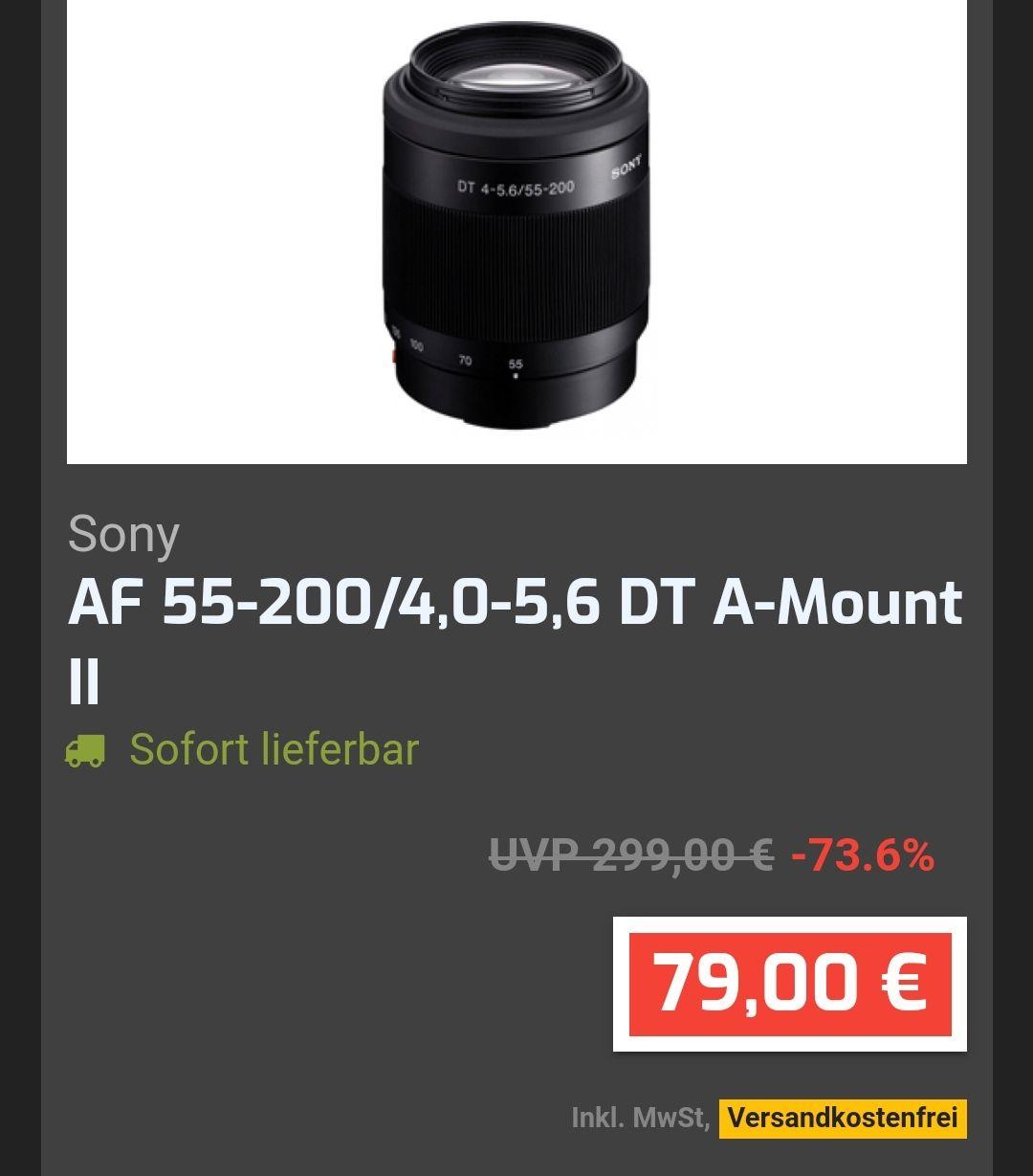 Abverkauf bei Fotoprofi, z.b. Sony AF 55-200/4,0-5,6 DT A-Mount II Objektiv