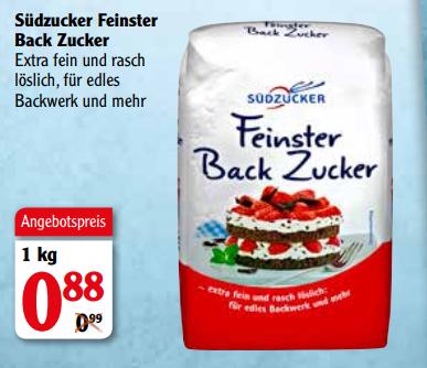 """Südzucker """"Feinster Back Zucker"""" 1kg für 0,38€ [GLOBUS LOKAL]"""
