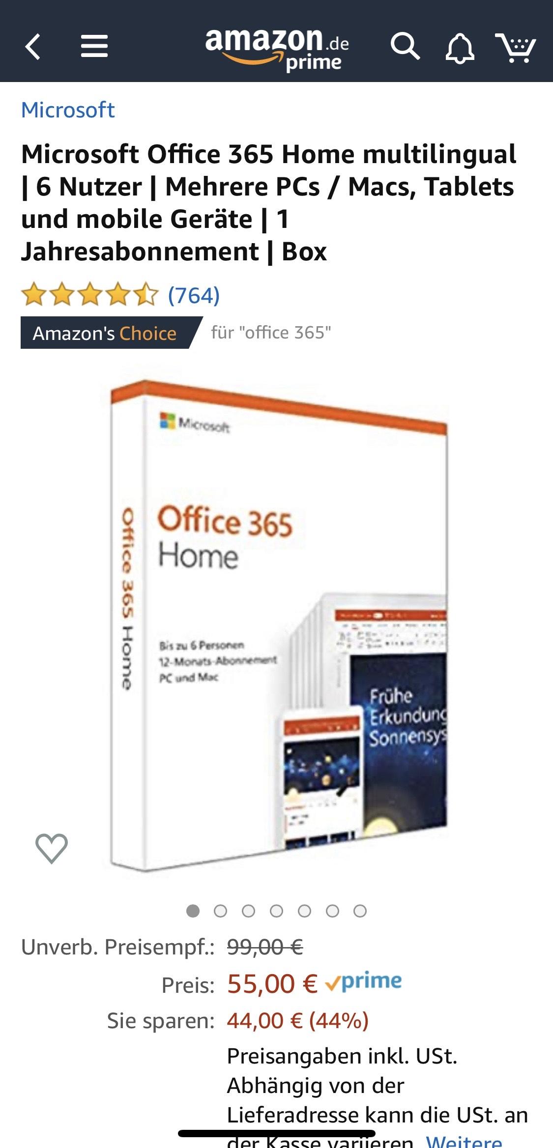 Microsoft Office 365 Home für 55€ bei Amazon