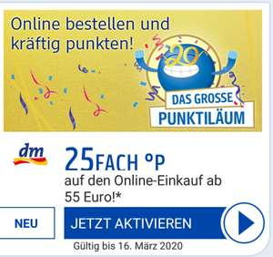 [DM personalisiert] 25 Fach Punkte auf den nächsten Online Einkauf ab 55 Euro