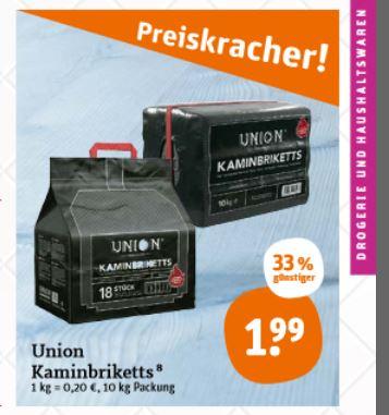 tegut: Union Kaminbriketts 10kg für 1,99€