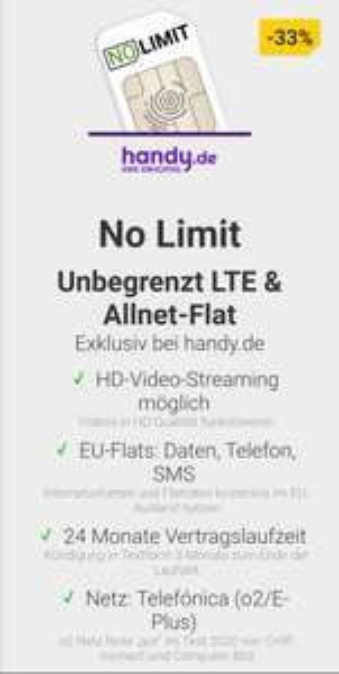 mobilcom debitel Telefonica Unlimited Basic Unbegrenzt LTE bis zu 2 Mbit/s, Allnet Flat 19,99 €, 24 Monate [handy.de]