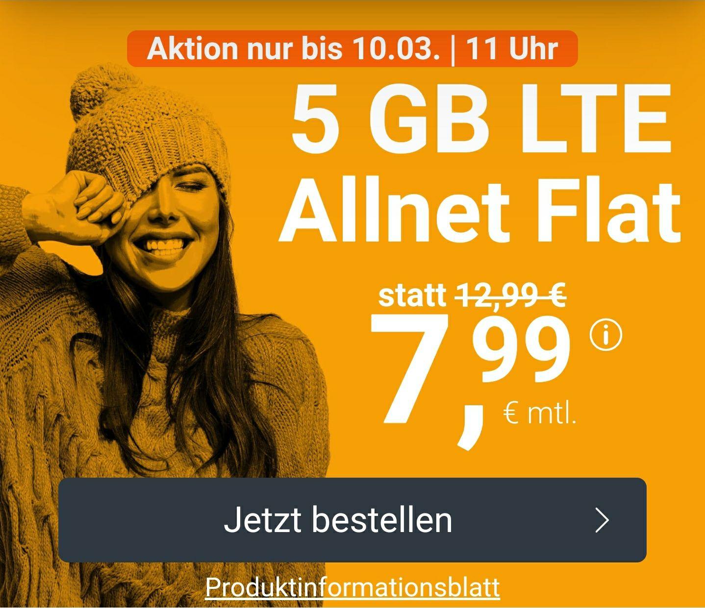 winSIM 5GB LTE, Allnet- und SMS Flat für 7,99€ mtl. + 0€ Anschlussgebühr monatlich kündbar