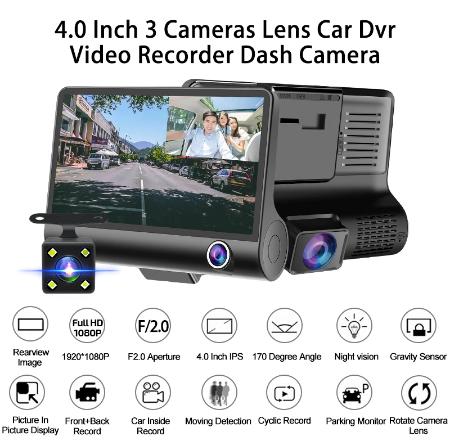 E-ACE Dashcam (1080p) inkl. Rück- und Innenraumkamera