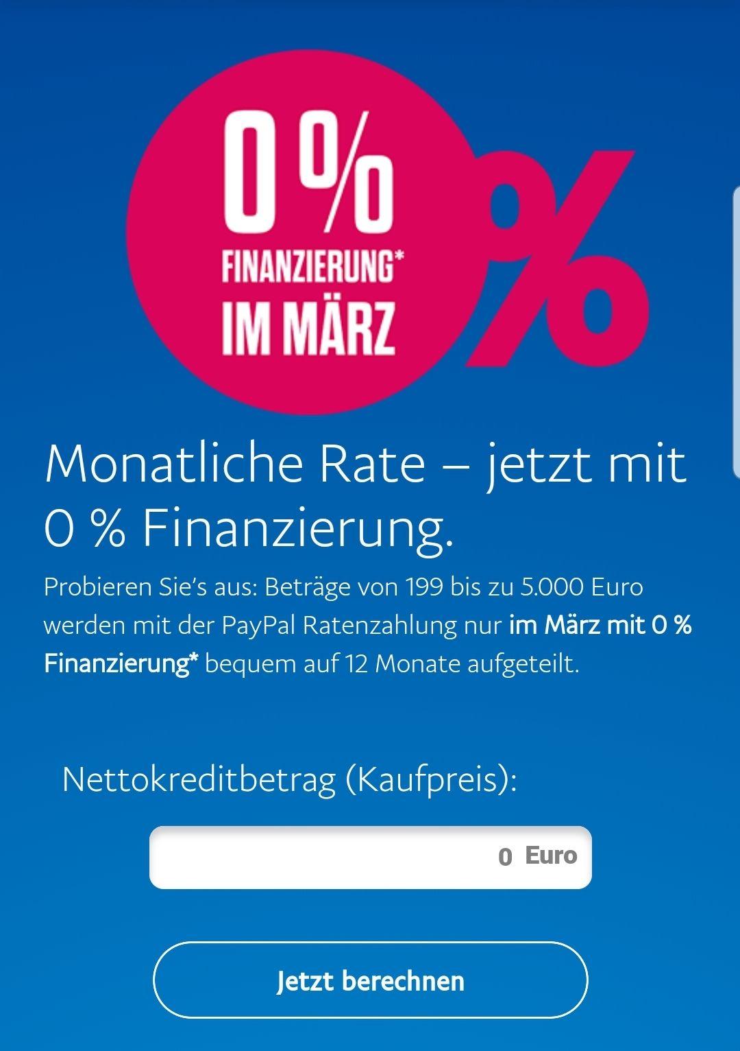 [PayPal] 0% - Finanzierung für 12 Monate- nur im März