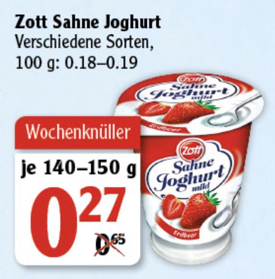 [Globus] Zott Sahne Joghurt in versch. Sorten je 140-150g für 0,27€