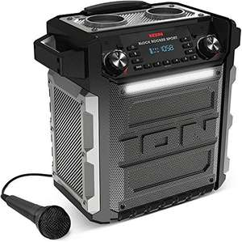ION Audio Block Rocker Sport - 100Watt Bluetooth Lautsprecher mit Akku, Mikrofon, Radio, LED-Licht, Aux-Eingang, wasserfest nach IPX4