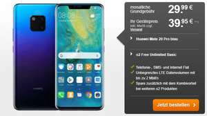 Huawei Mate 20 Pro + o2 Free Unlimited Basic für 29,99€