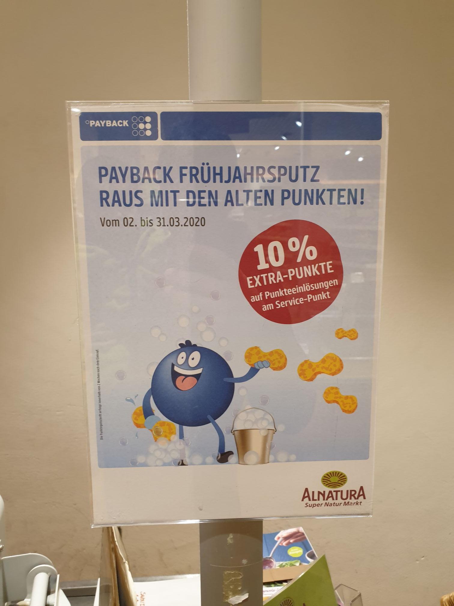 10% Extra Punkte für die eingelösten Payback Punkte bei Alnatura