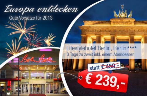 [ab-in-den-urlaub] 3 Tage 2P. Lifestyle im 4-Sterne Superior Lifestylehotel Berlin für 239,00€ statt 459,00€