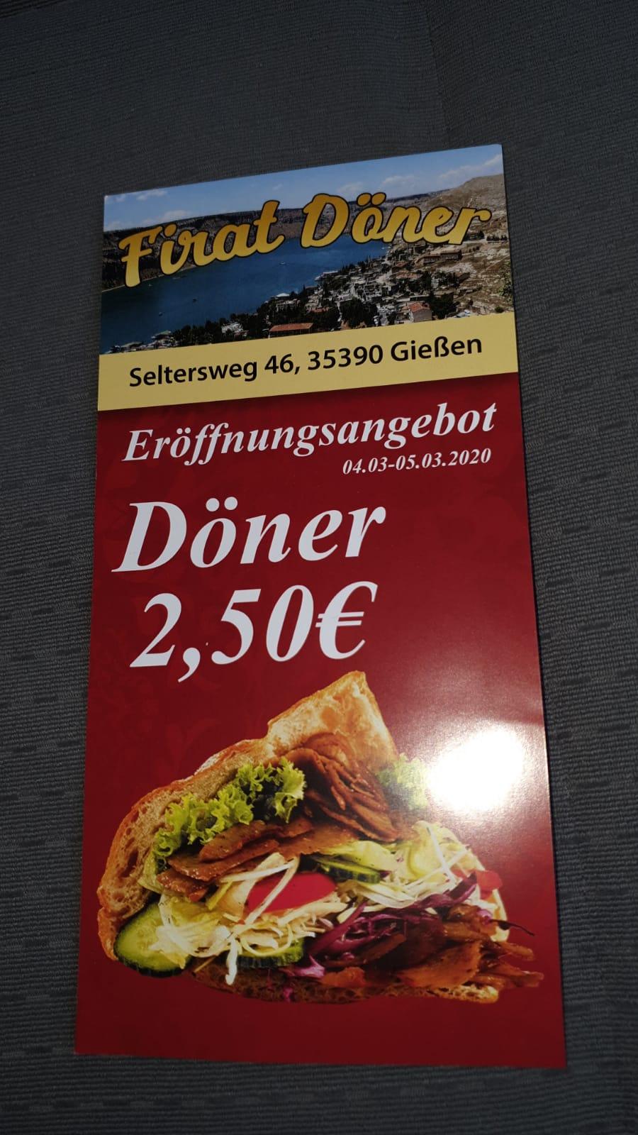 Döner für 2,50€ Neueröffnung Gießen (Lokal)