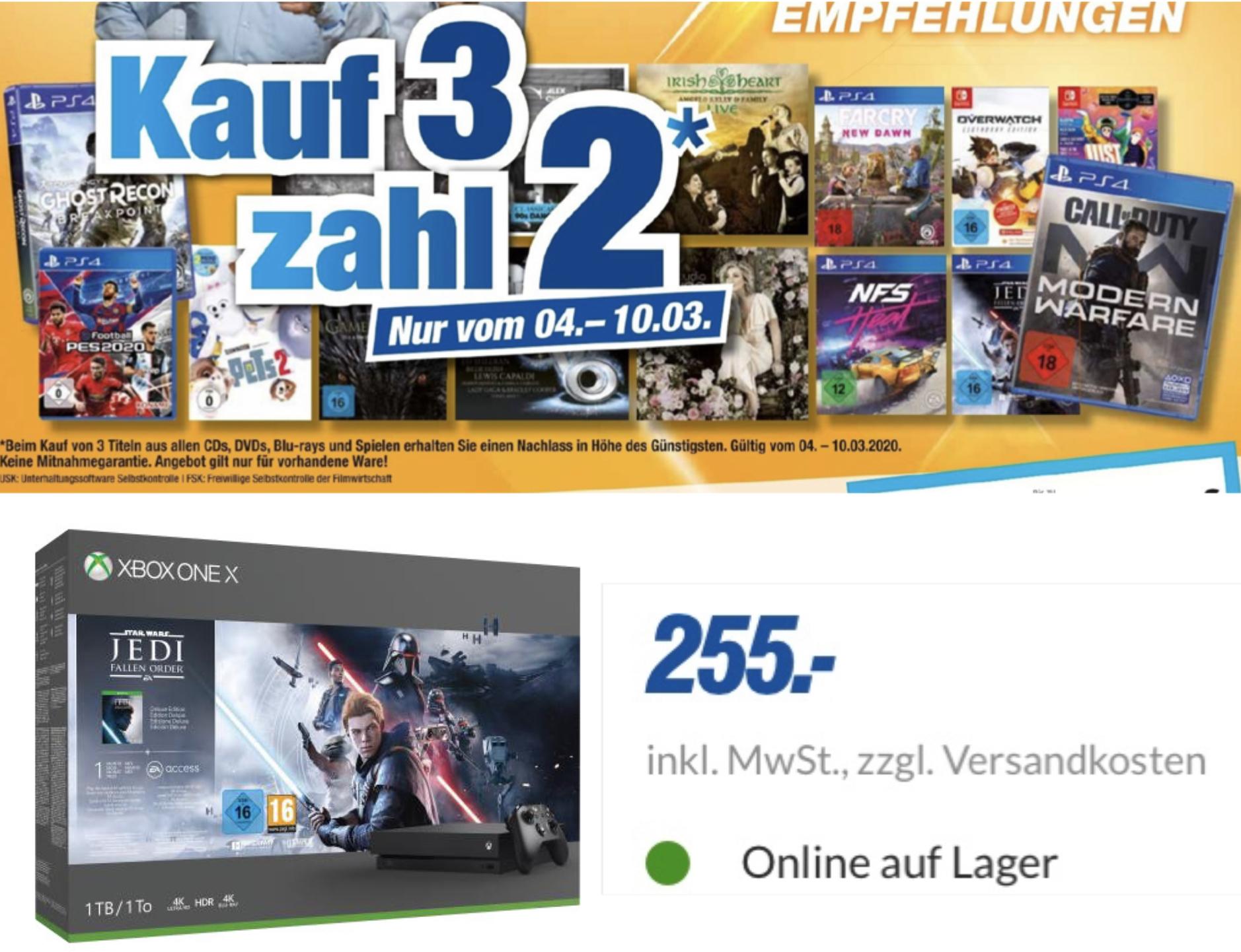 Expert Octomedia 4 Filialen.: 3 für 2 auf alle Spiele, Blu-rays, DVDs, CDs / Xbox One X Jedi Fallen Order Bundle für 255€ (Versand möglich)