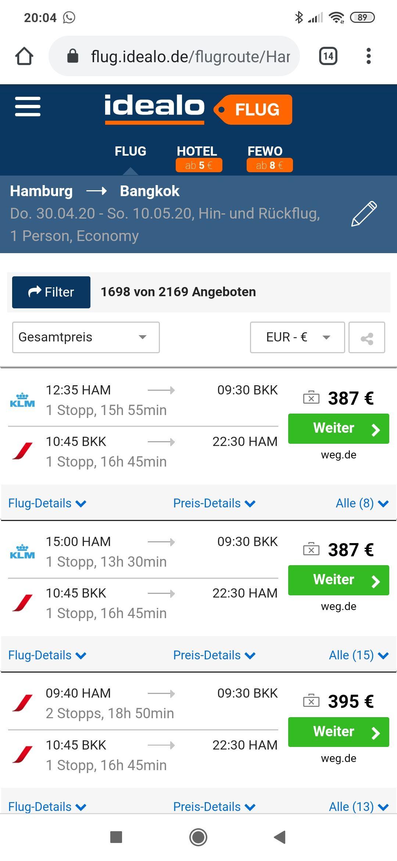Bangkok ab Hamburg April & Mai ab 387€