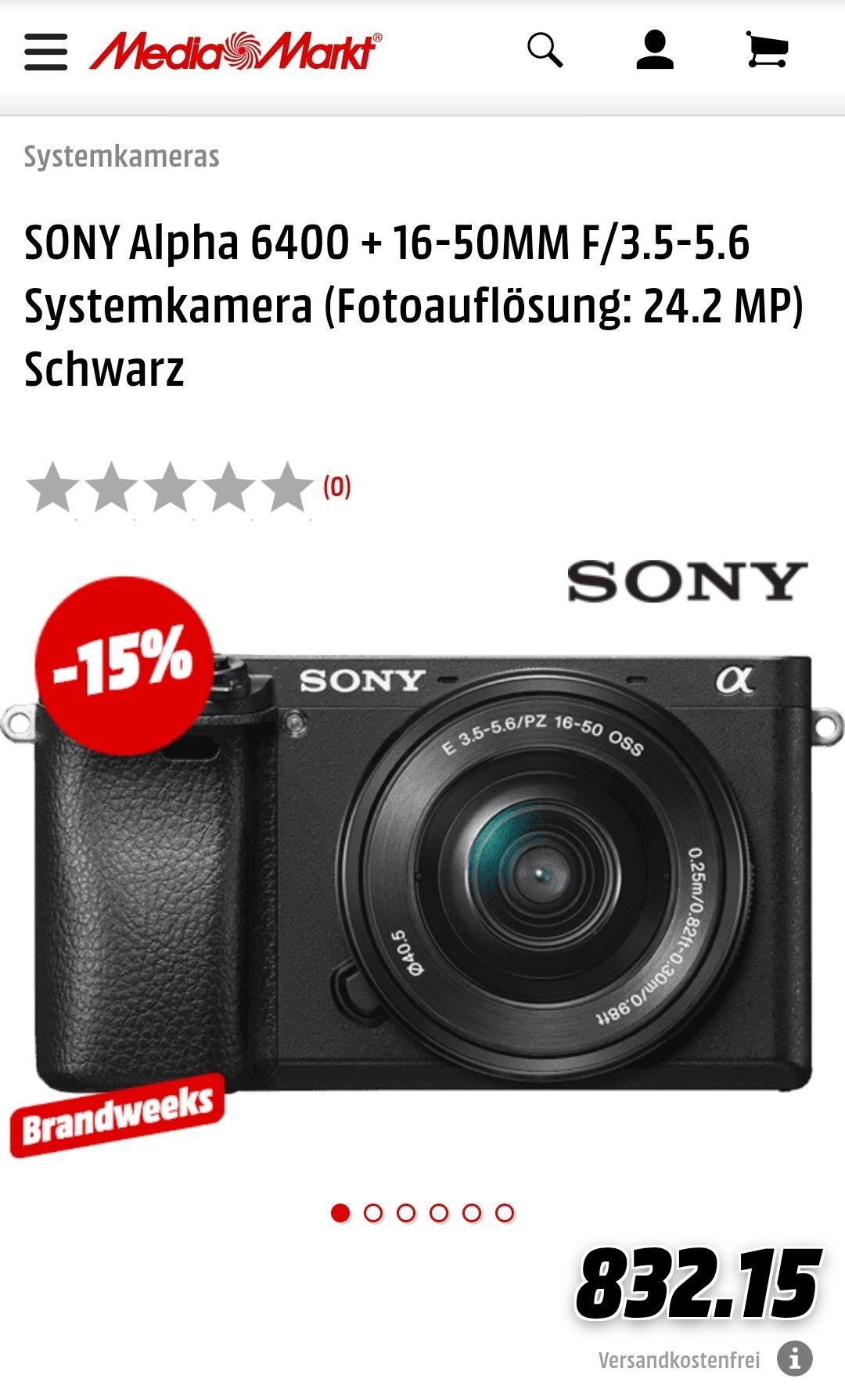 [Schweiz lokal, Mediamarkt.ch] SONY Alpha 6400 + 16-50MM F/3.5-5.6 Systemkamera
