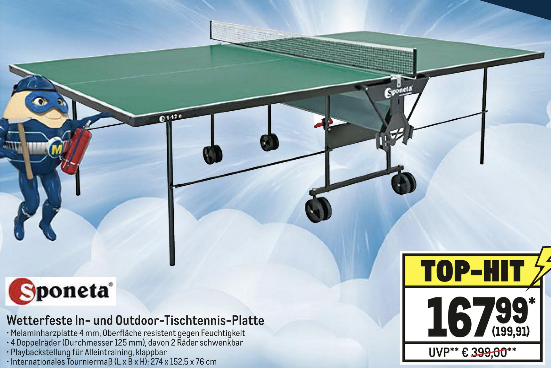 Sponeta Outdoor Tischtennisplatte wetterfest klappbar Turniermaß grün für 199,91€ - [Metro] Gewerbe o. Verein erforderlich