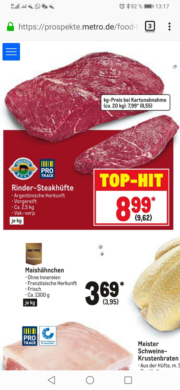 [Metro] 2,5kg Arg. Steakhüfte für 24,05€ (PVG 37,42€) (9,62/kg)