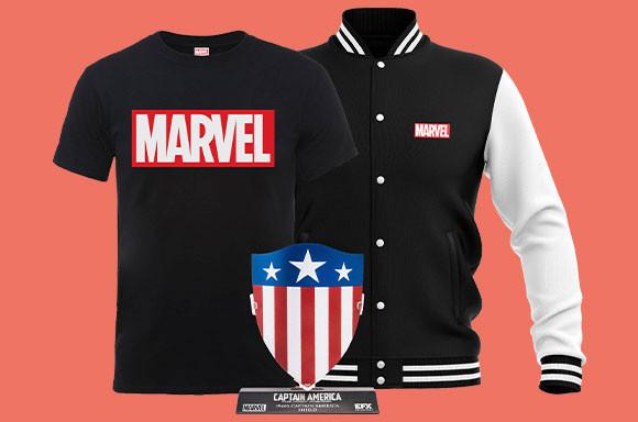 Marvel-Bundle bestehend aus Varsity College Jacke, T-Shirt & Captain America Replica Schild