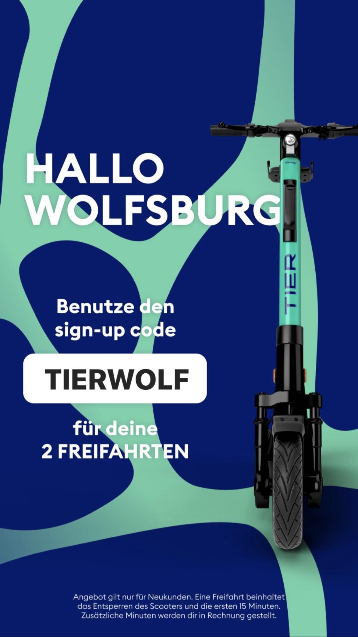TIER Scooter 2 Freifahrten (Entsperren + 15 Minuten) - nur für Neukunden (Lokal Wolfsburg)