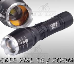 Ebay: 1600 Lumen Zoomable CREE XM-L T6 LED 18650