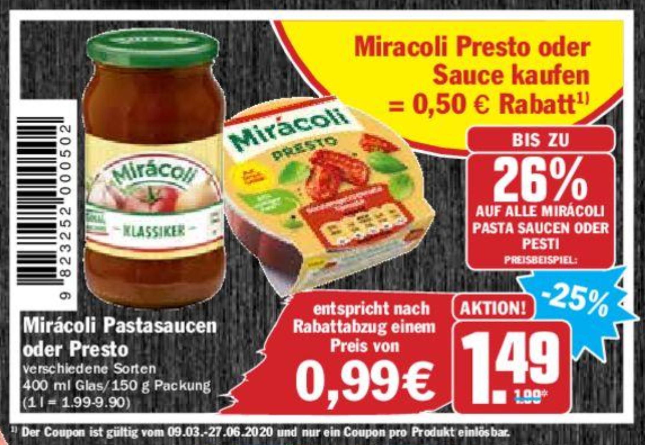 0,50€ Rabatt Coupon für Miracoli Presto Saucen bis 27.06.2020 zum Ausdrucken oder vorzeigen am Smartphone