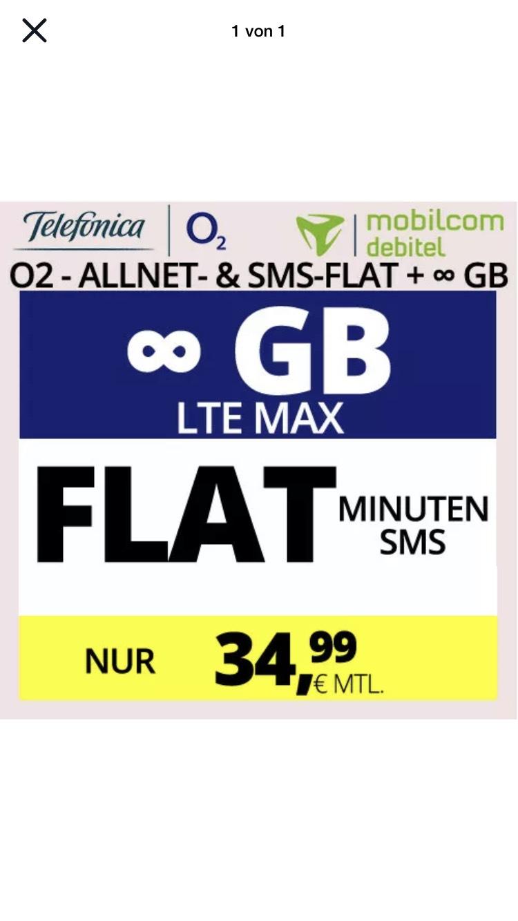 Handytarif O2 mit UNENDLICH LTE MAX Datenvolumen + ALLNET-FLAT für 34,99 EUR