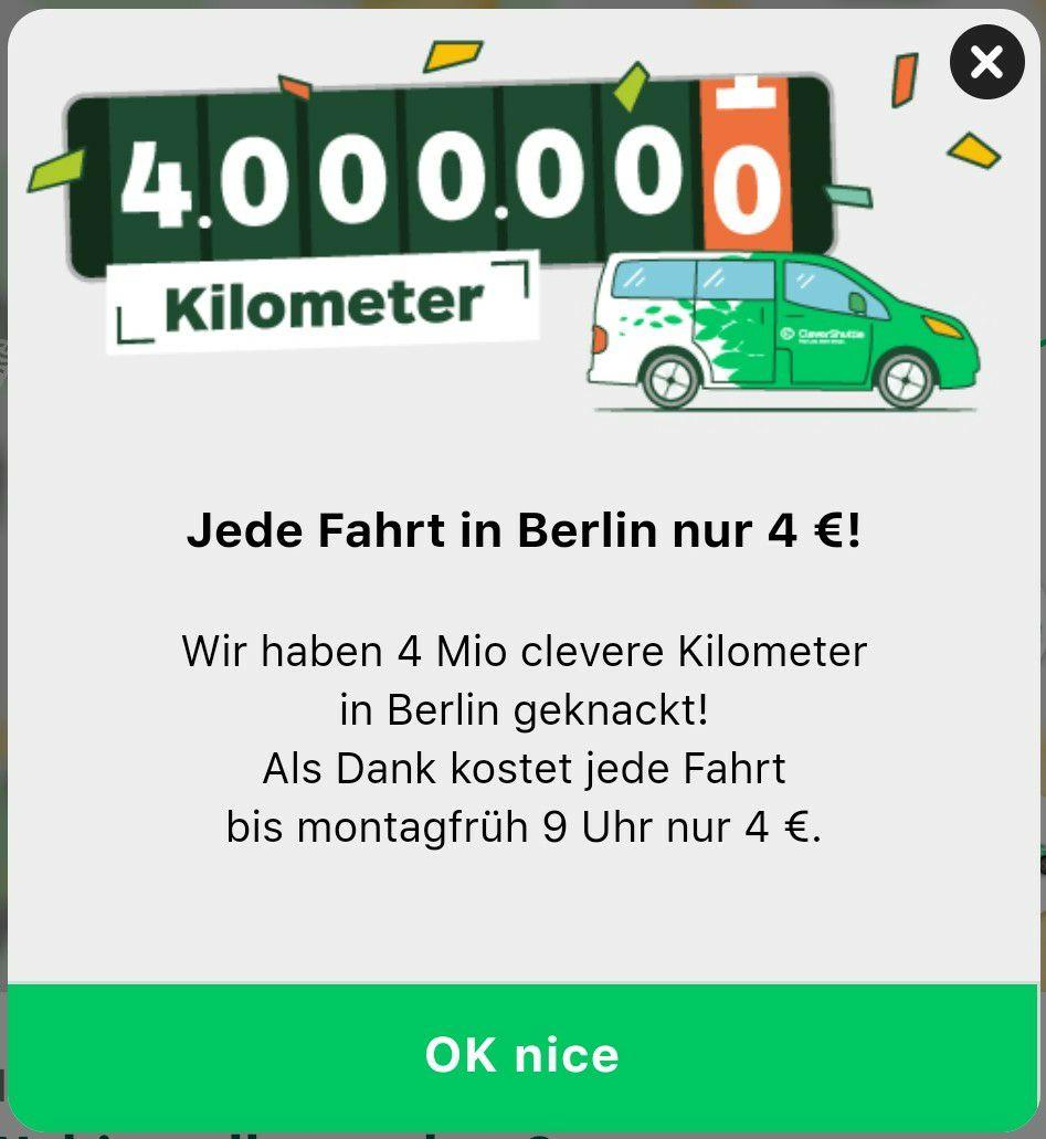 CleverShuttle: jede Fahrt in Berlin nur 4 € (bis 09.03.2020 - 09:00 Uhr)