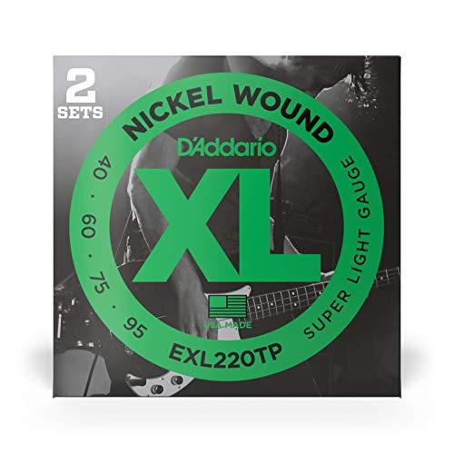 2er Pack: D'Addario EXL220TP vernickelte Stahlsaiten für E-Bass .040 - .095 Long Scale Super Light