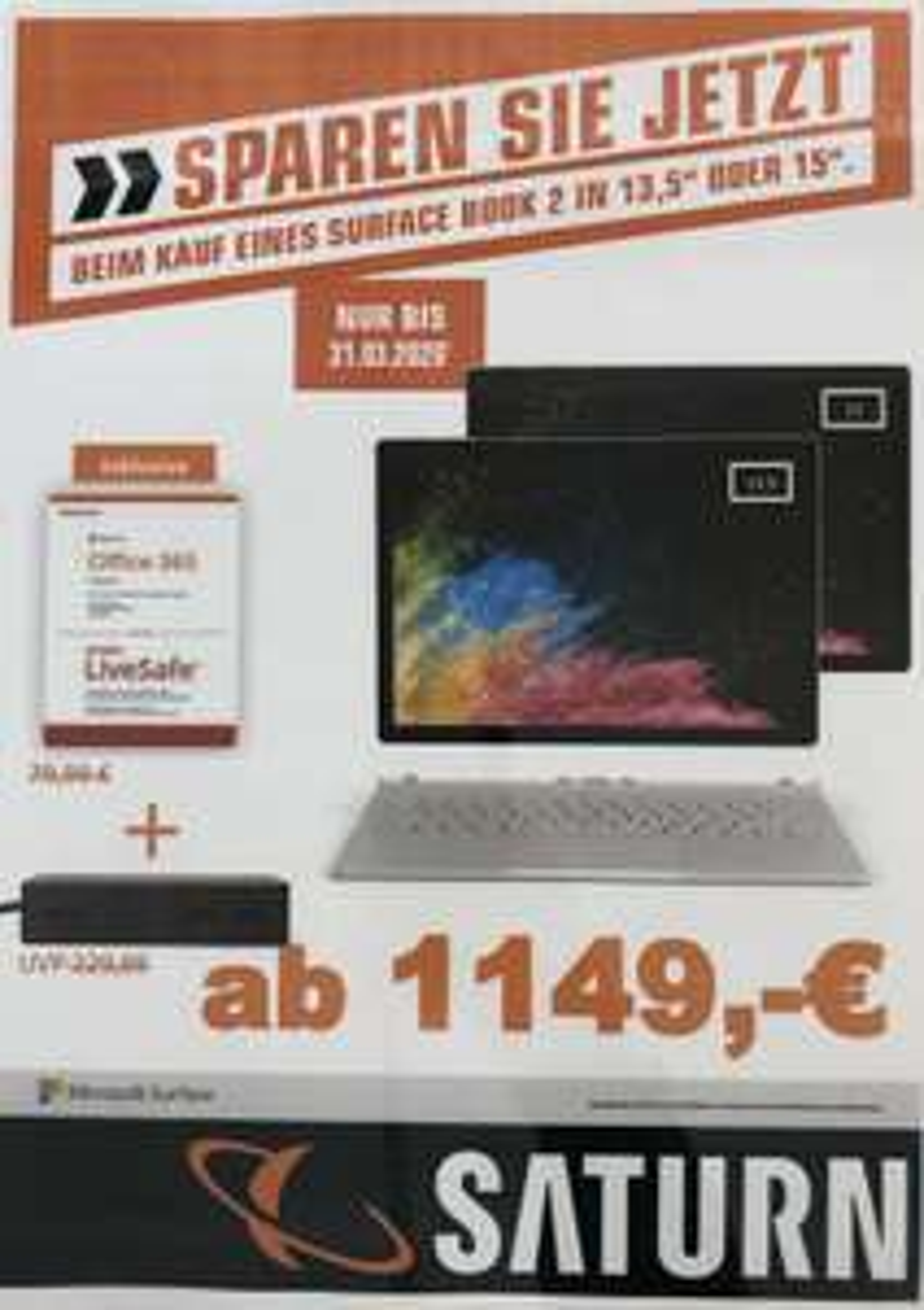 [Lokal Saturn Köln City & Maybachstr] Microsoft Surface Book 2 i5/ 8GB / 256 GB inkl. Office 365 Home und Microsoft Surface Dockingstation