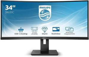 Philips 346B1C 86 cm (34 Zoll) Curved Monitor (HDMI, Displayport, USB-C, USB Hub, 3440 x 1440, 100 Hz, FreeSync, 5 ms) [Amazon]