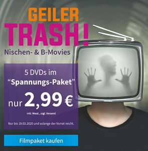 [Videobuster] Geiler Trash - Überraschungspaket Spannung - 5 Filme (DVD), Neuware (OVP) für 2,99 € zzgl. Versand
