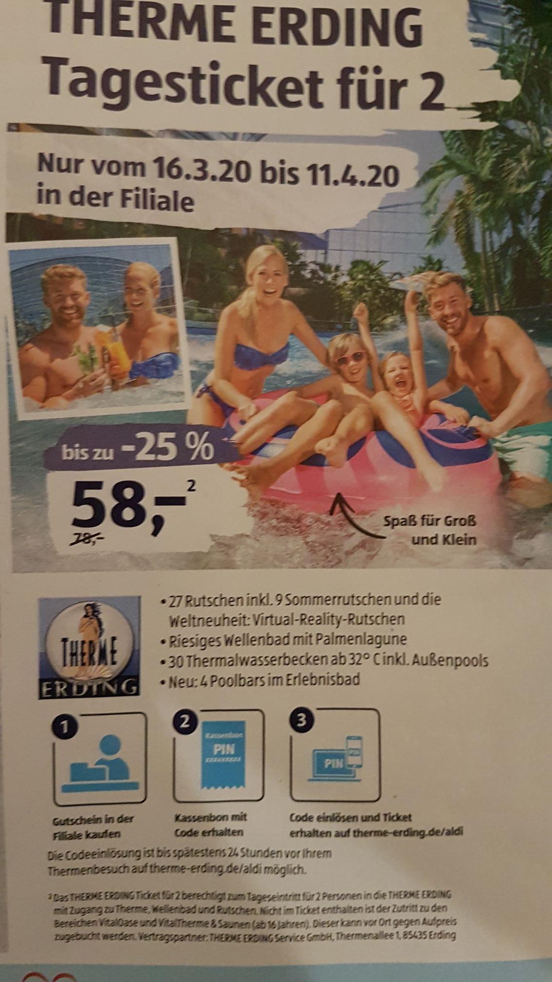 Therme Erding 2*Tageseintritt für 58€ bei AldiSued ab 16.03.