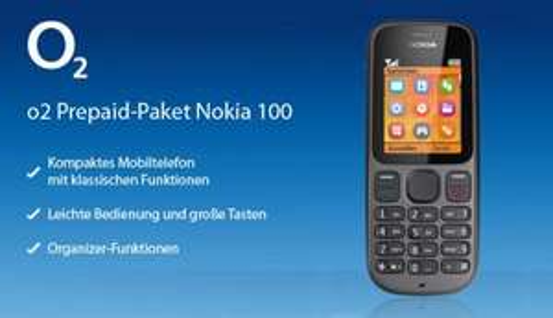 Nokia 100 o2 Prepaid Handy inkl. 5 Euro Startguthaben o2o Prepaid - ohne Vertrag 7,99€ @ Deltatecc.de