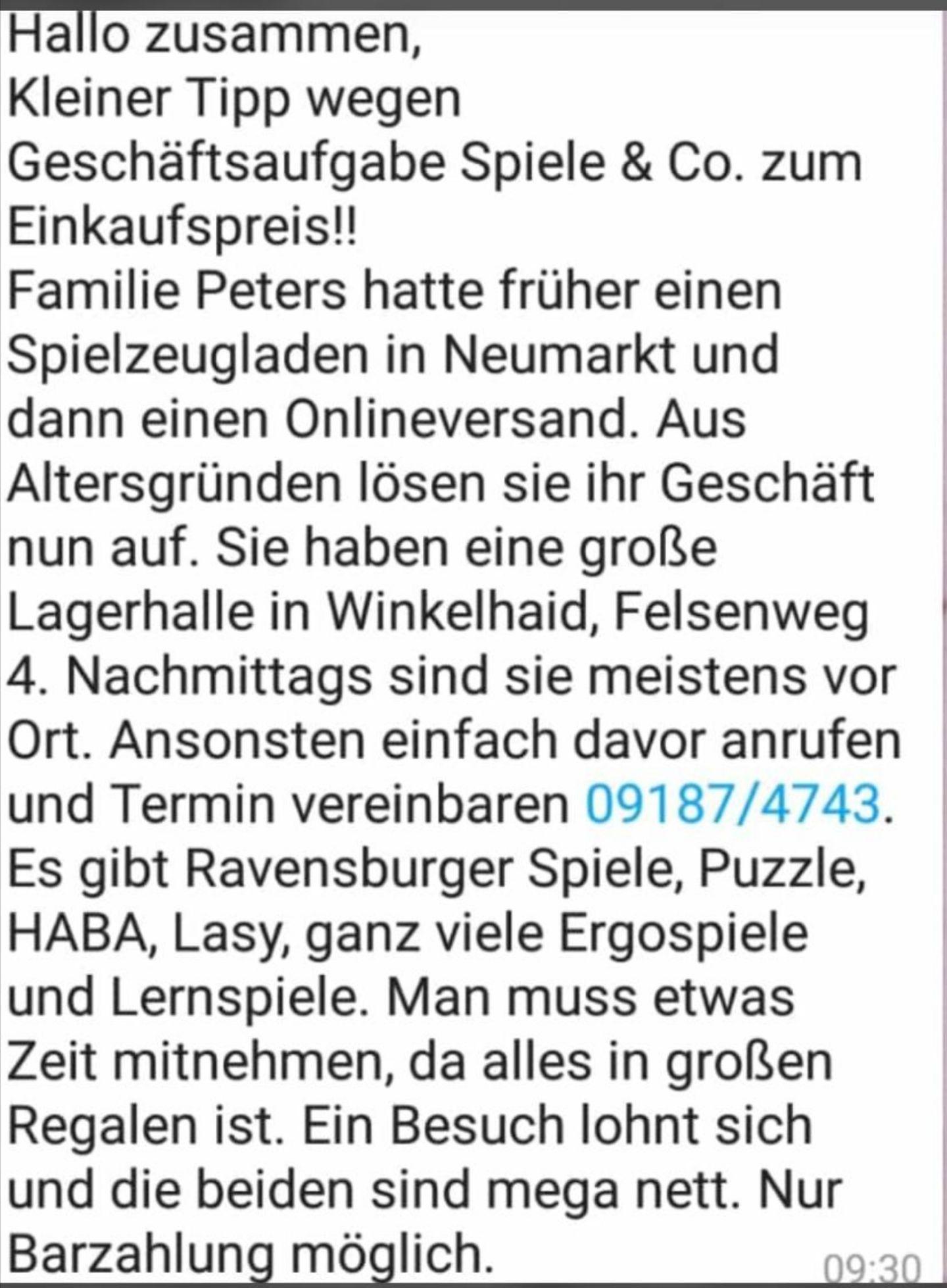 [lokal Winkelhaid/Nürnberg] Große Auflösung eines Spielwarenhändlers / Brettspiele, Puzzle, Lernspielkästen, uvm / nur Barzahlung vor Ort