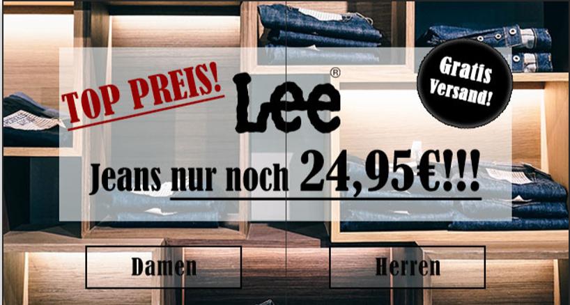 Lee Jeans für 24,95€ inkl. Versand 5% Shoop 23,70€