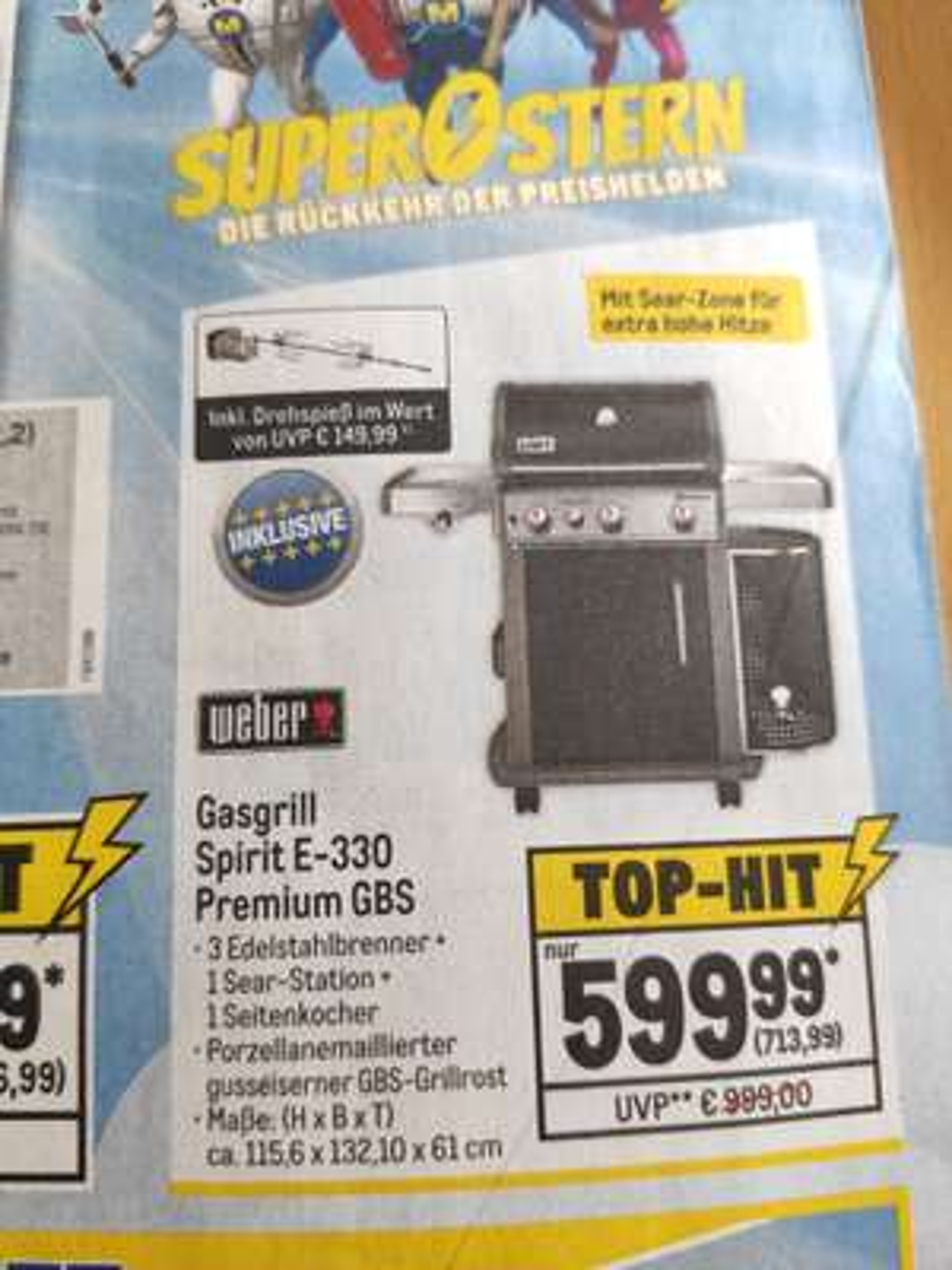 (Lokal Metro) Weber Spirit E-330 Premium GBS inkl. gratis Drehspieß!