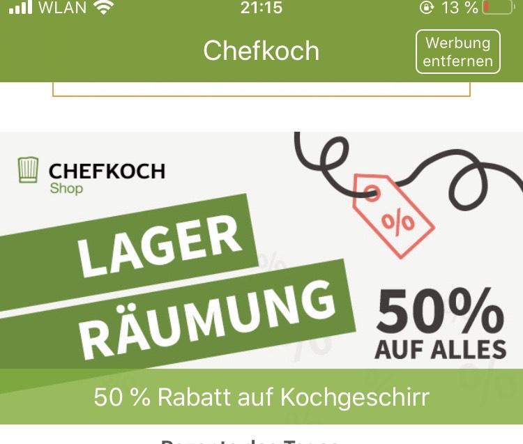 50% auf alles im Chefkoch-Shop - versandkostenfrei