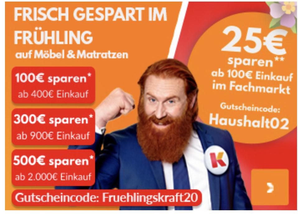 Sammeldeal: 25€/100€/300€/500€ bei Möbelkraft sparen auf Möbel & Matratzen