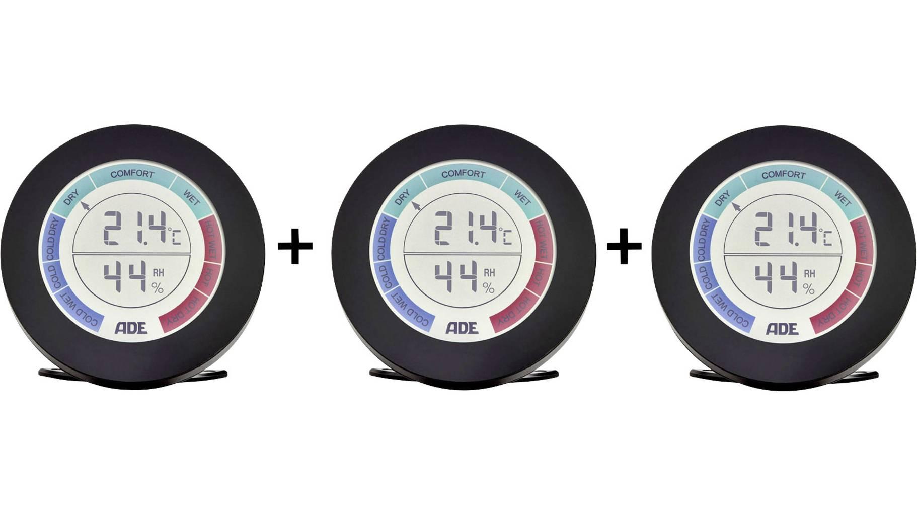 Dreierpack Thermo-/Hygrometer ADE WS 1831 (Temperaturanzeige in °C oder °F, Luftfeuchtigkeit 20 bis 95% RH, 6.5cm Display, inkl. je 2x AAA)