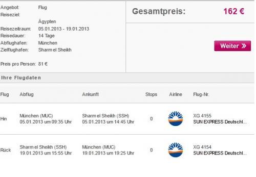 5.1.2013 nach Sharm El Sheikh fliegen (von München) für 2 Personen 162 Euro komplett return