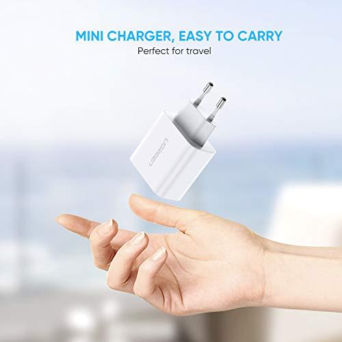 [Amazon Prime] UGREEN USB Ladegerät 15W 3.1A USB Ladeadapter 2 Ports USB Netzteil kompatibel mit iPhone, iPad Air, Galaxy S,Weiß)