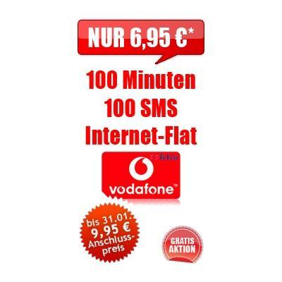 Handytarif: 100 Min. in alle Netze, 100 SMS, Internetflat im Vodafonenetz nur 6,95