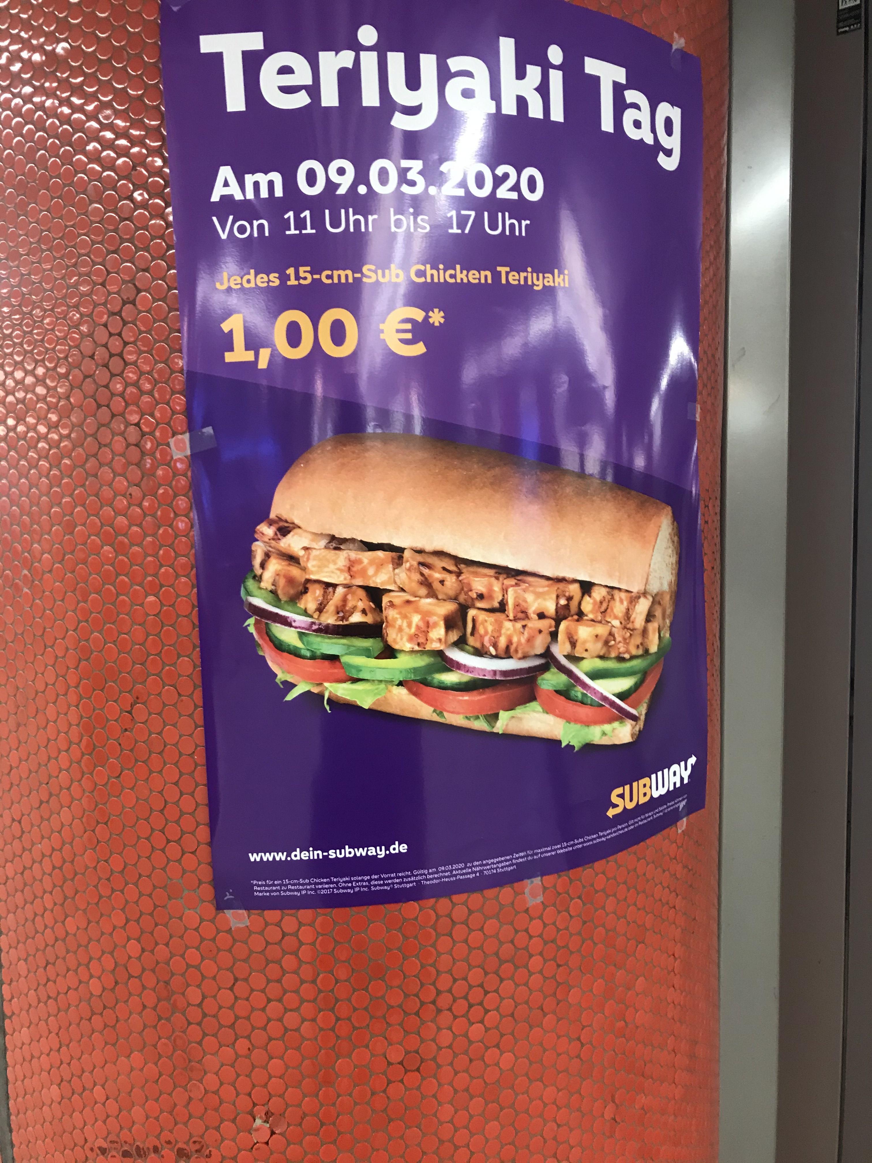 Lokal* Stuttgart Subway Heute 9.3.2020 Teriyaki 1€