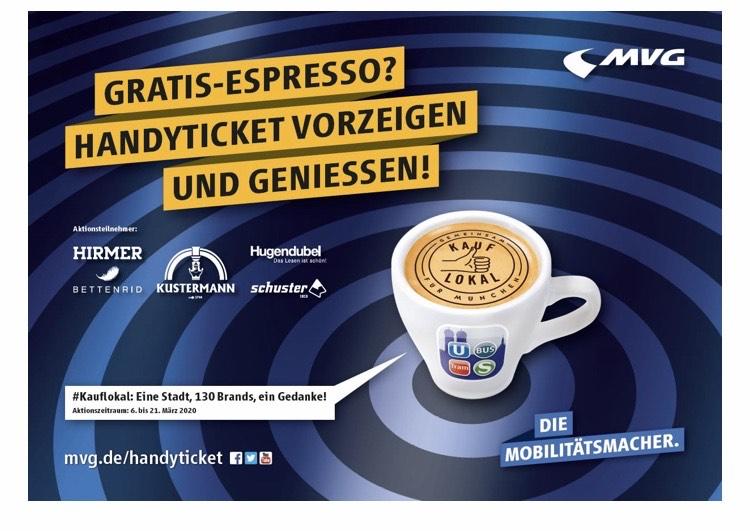 [Lokal] MVG München HandyTicket vorzeigen und dafür einen Espresso genießen