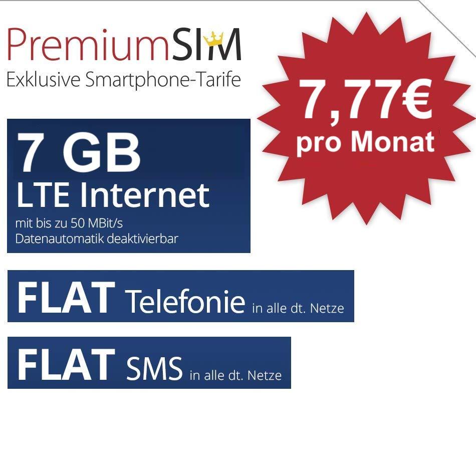 PremiumSIM Tarif mit 7GB LTE (50 Mbit/s) für mtl. 7,77€ inkl. Allnet- & SMS-Flat im Telefonica-Netz (3 Monate / 24 Monate)