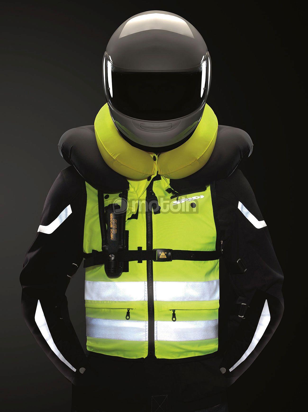 Spidi Neck DPS Airbag Tex Vest - wiederverwendbarer Airbag für Kopf und Hals auf dem Motorrad, auch für Kombi mit Höcker | Größe S, M und XL