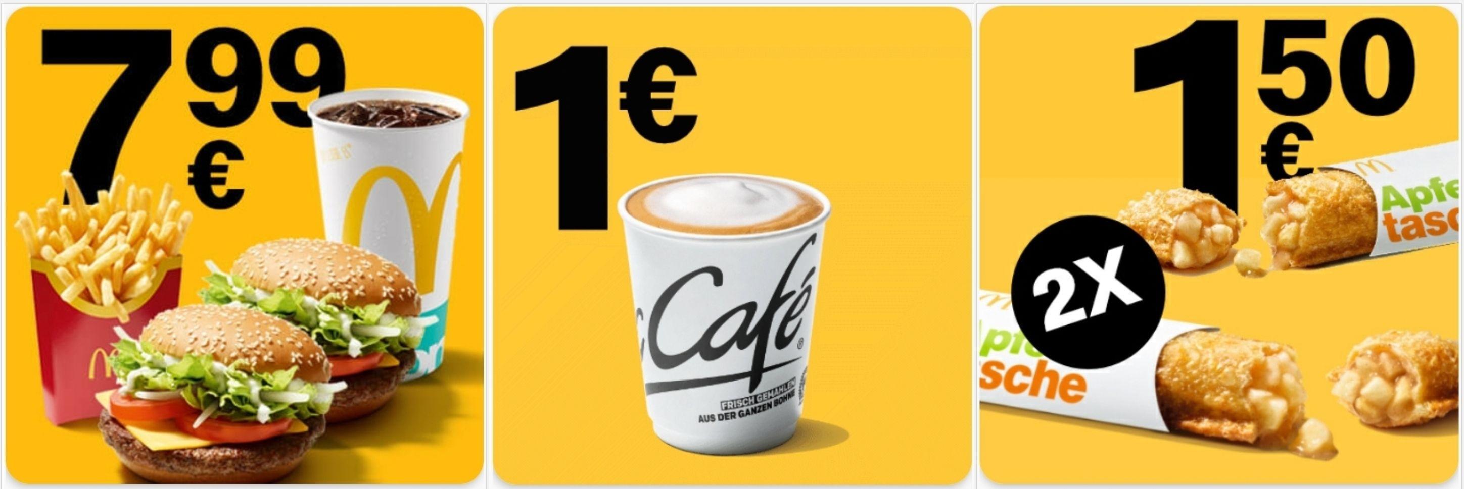 Doppelpack Menü für 7,99€, 2x Apfeltasche 1,50€ o. Cappuccino Small für 1€ [McDonald's App]