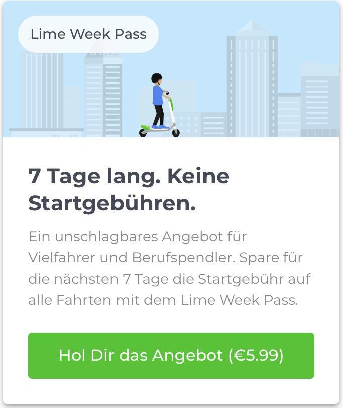 Lime Week Pass 7 Tage keine Startgebühren