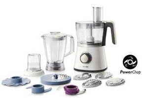 Küchenmaschine Philips Viva Collection HR7761/00 (750W, 2 Stufen, 2l-Mixbecher, 1.75l-Mixaufsatz, 0.25l-Mühle, Knethaken, diverse Scheiben)